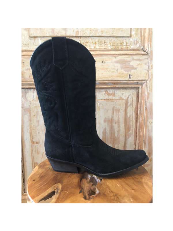 DW\\RS Texas Cowboy Boots Black Suede