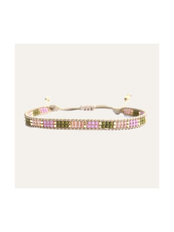 Lobi Beads Armband Miyuki Groen Roze Goud