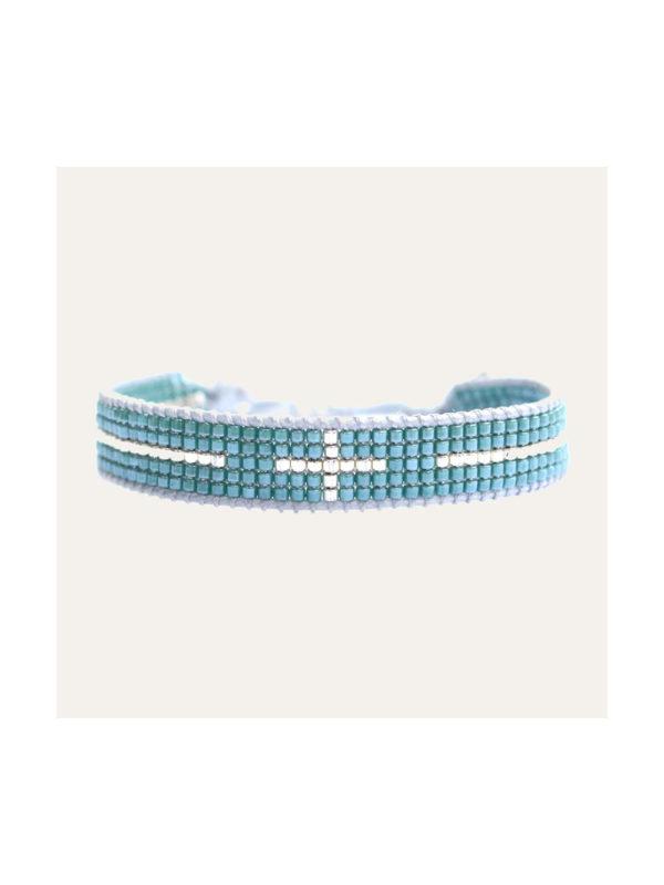Lobi Beads Armband Miyuki Turquoise Zilver