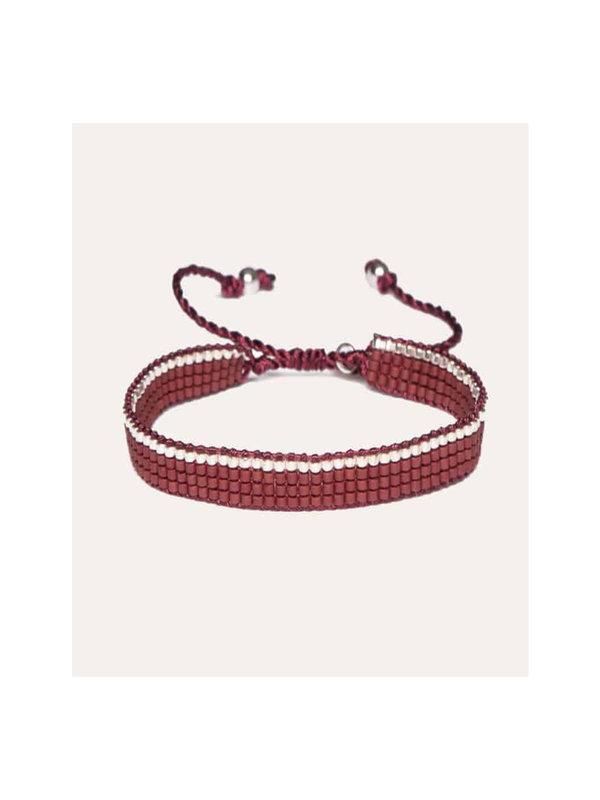 Lobi Beads Armband Geweven Miyuki Rood & Zilver