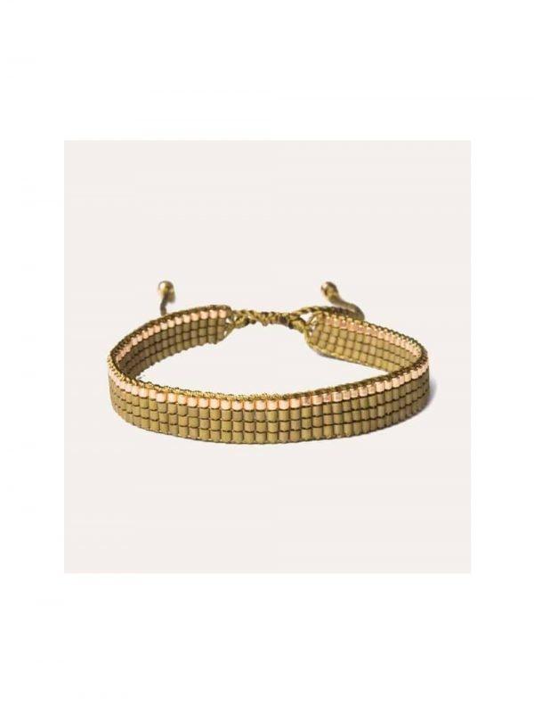 Lobi Beads Armband Geweven Miyuki Olijfgroen Goud