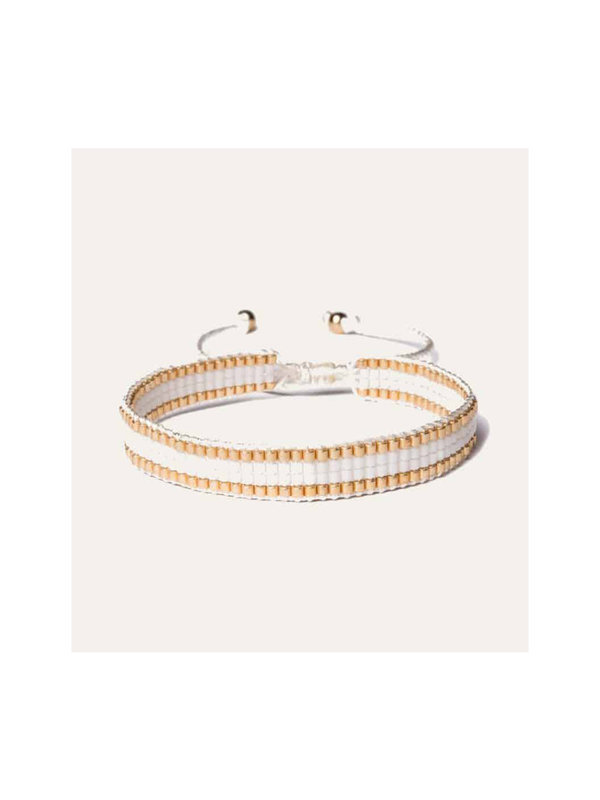 Lobi Beads Armband Geweven Miyuki Wit & Goud