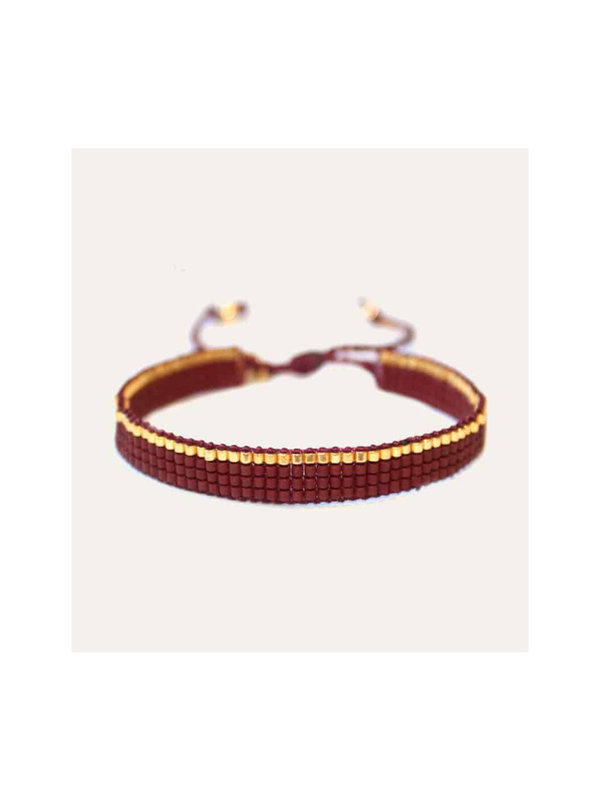Lobi Beads Geweven Miyuki Bordeaux Rood & Goud