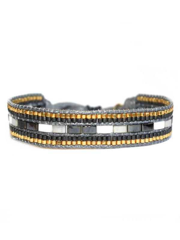 Lobi Beads brede gouden miyuki armband