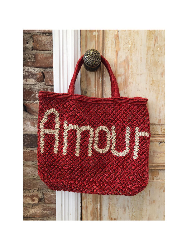 The Jacksons Beach Bag Amour Red White