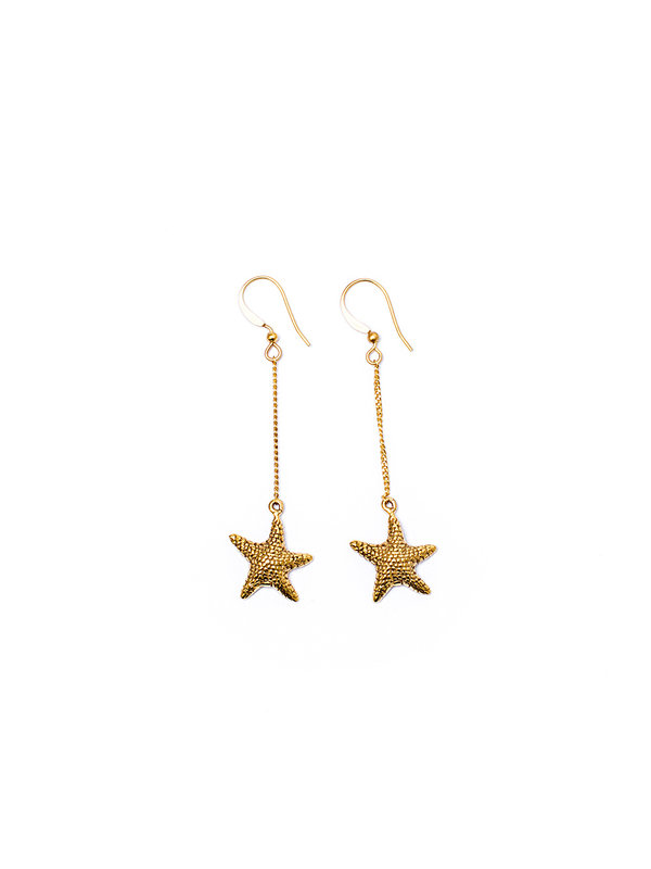 Pineapple Guitar Starfish Earrings Gold