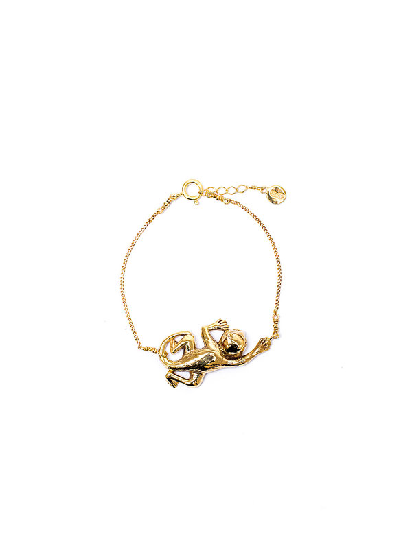 Pineapple Guitar Monkey Bracelet Gold
