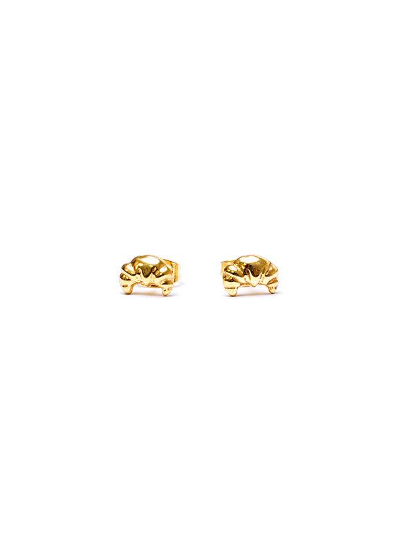 Pineapple Guitar Croissant Earrings Gold
