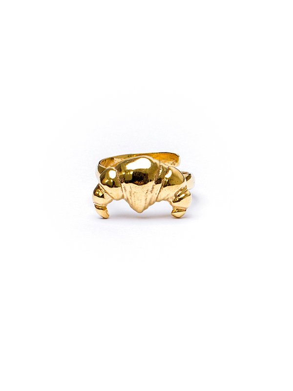 Pineapple Guitar Croissant Ring Gold