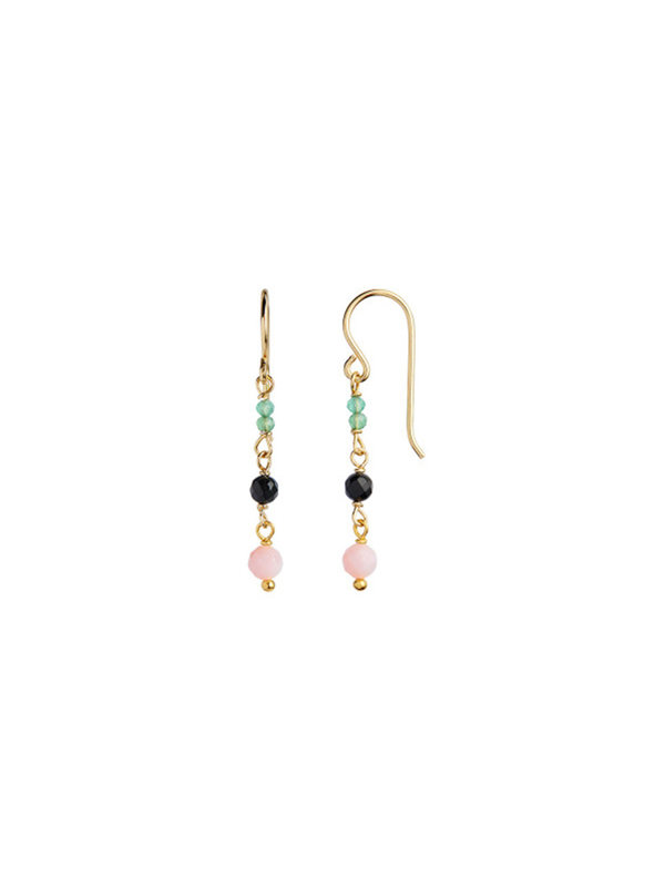Stine A Petit Stone Earring On Hook Gold - Green Forest