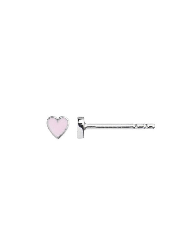 Stine A Petit Love Heart Pink Enamel Earring Silver