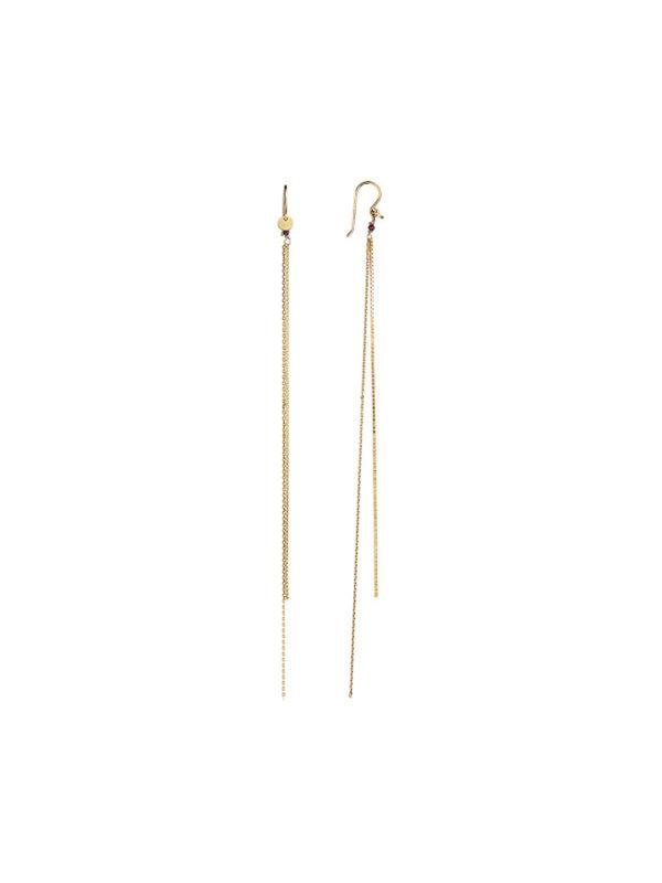 Stine A Two Long Chains Garnet Earring Gold