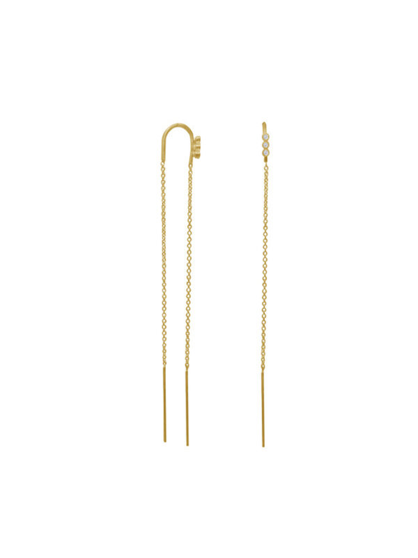 Stine A Three Dots Double Chain Earring Gold