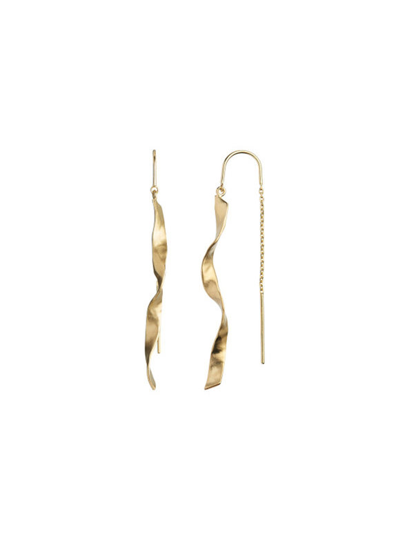 Long Twisted Hammered Earring Gold