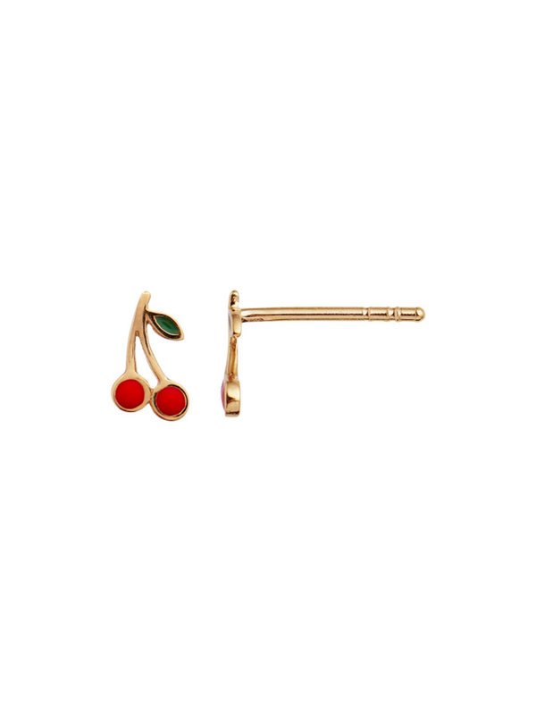 Stine A Petit Cherry Earring Gold Enamel