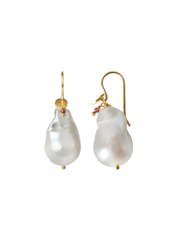 Baroque Pearl Earring Gemstone Gold