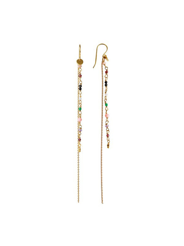 Stine A Petit Gemstones Long Chain Earring Gold Forrest Mix