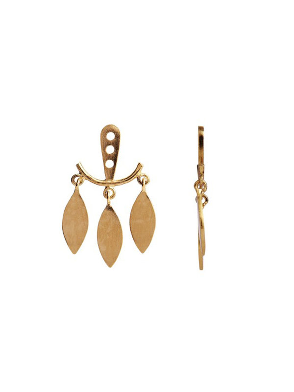 Stine A Dancing Three Leaves Behind Earring Gold