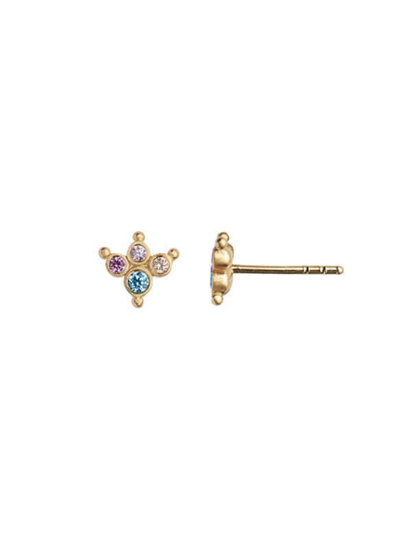 Stine A Petit Candy Fleur Earring Gold-Pacific Blue Sorbet
