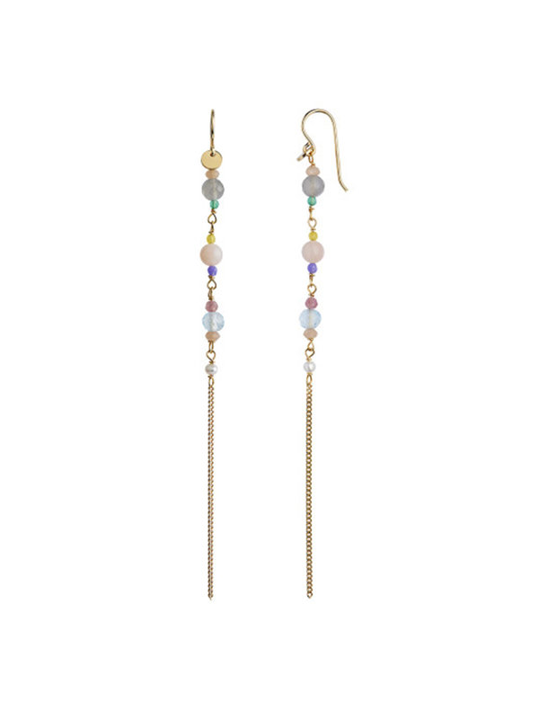 Stine A Long Earring with Stones and Chain - Candy Floss Mix
