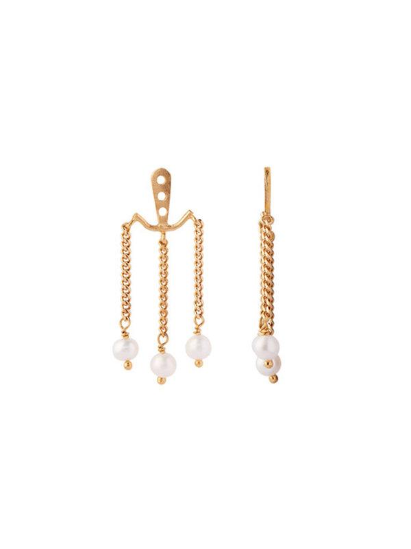 Stine A Dancing Three Pearls Behind Ear- Gold