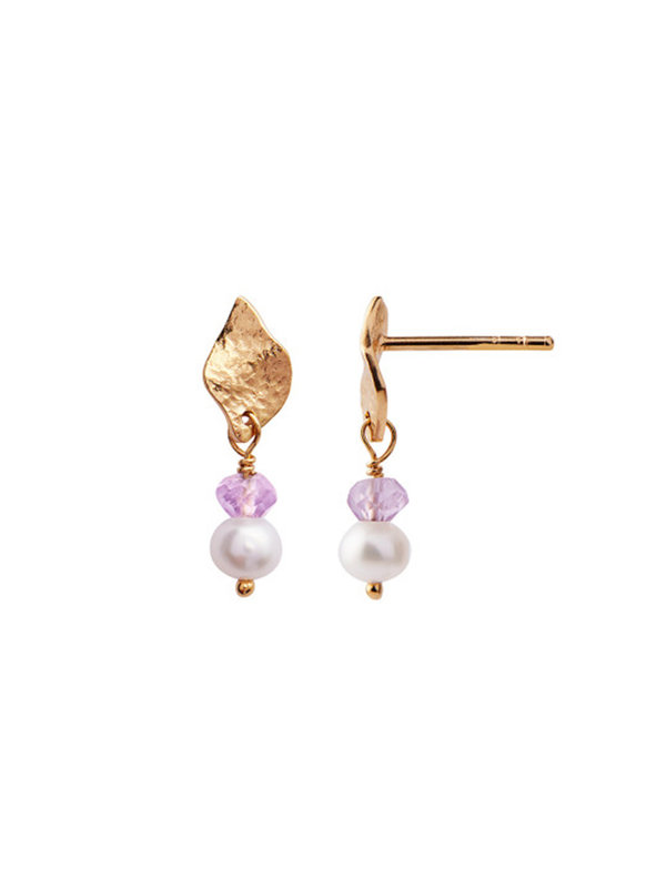 Stine A Ile De L'amour Pearl and Light Amethyst Earring Gold