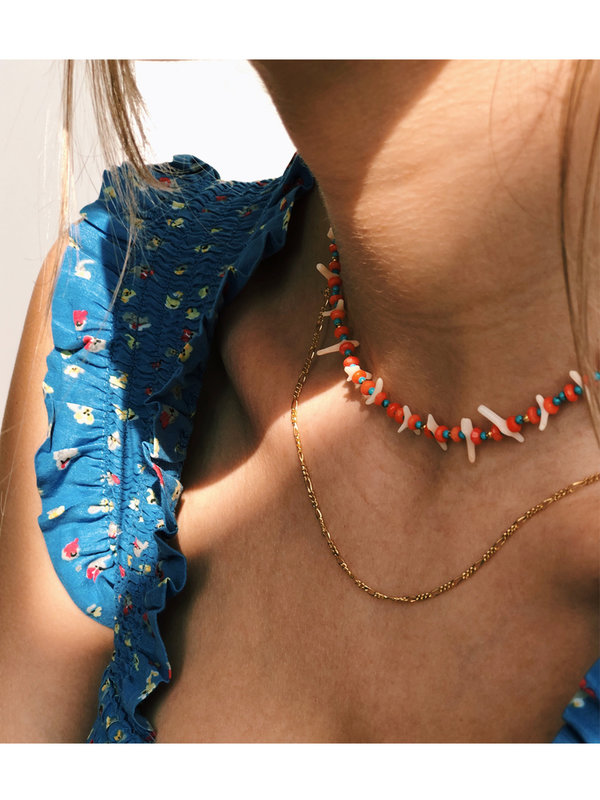 Anna + Nina Salty Shell Necklace Red Blue