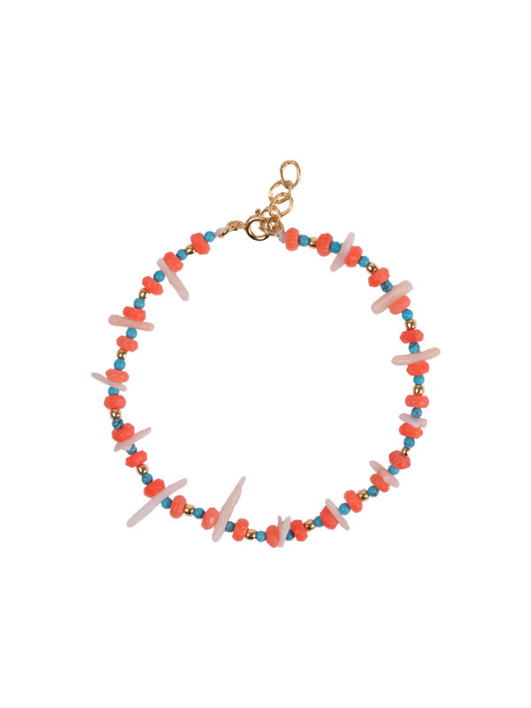 Anna + Nina Salty Shell Bracelet Red Blue
