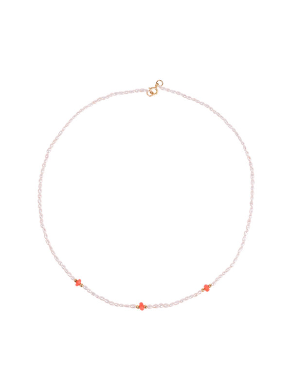 Anna + Nina Reef Pearl Necklace Coral Gold