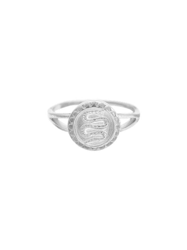 Anna + Nina Anna + Nina Serpent Coin Ring Silver