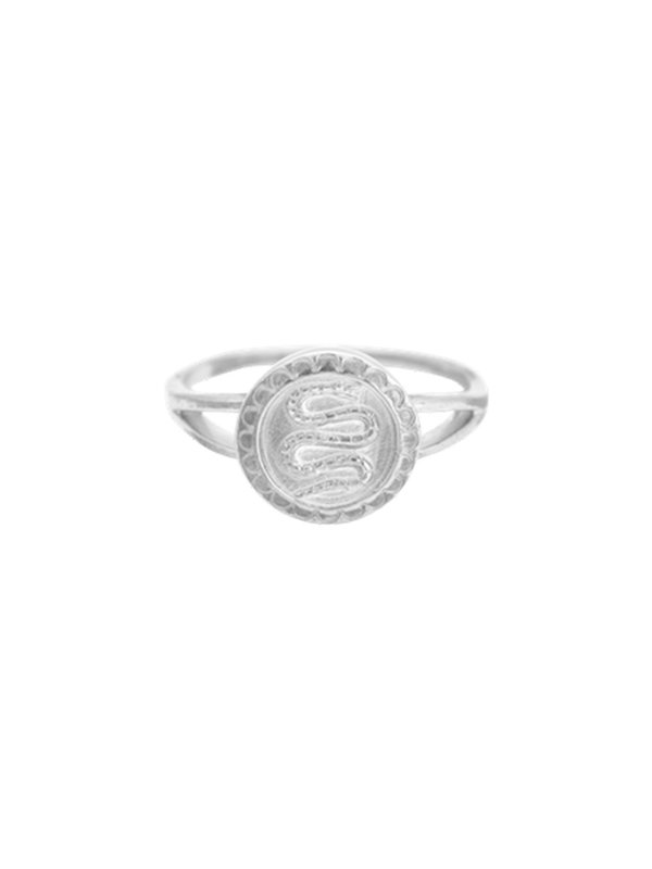 Anna + Nina Serpent Coin Ring Silver