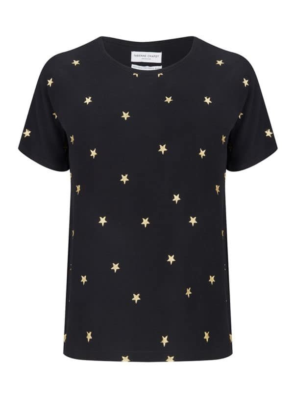 Faab top emboirdery black/gold stars
