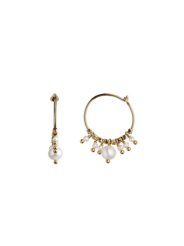 Stine A Petit Hoop White Pearls Earring Gold