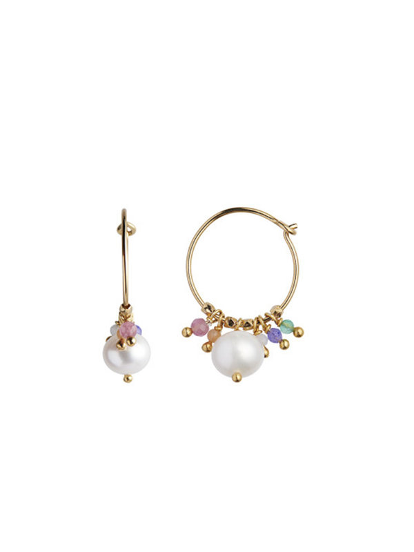 Stine A Petit Hoop Pearl And Candy Stones Earring Gold