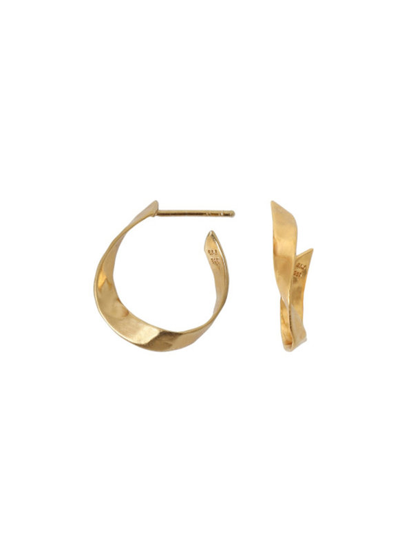 Stine A Twisted Hammered Creol Earring Left Gold