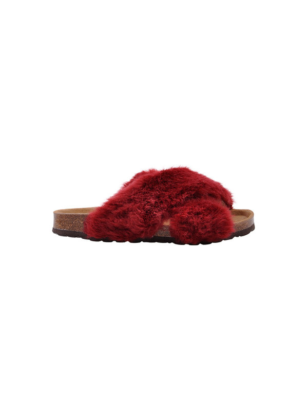 Sofie Schnoor Red Slipper Fake Fur