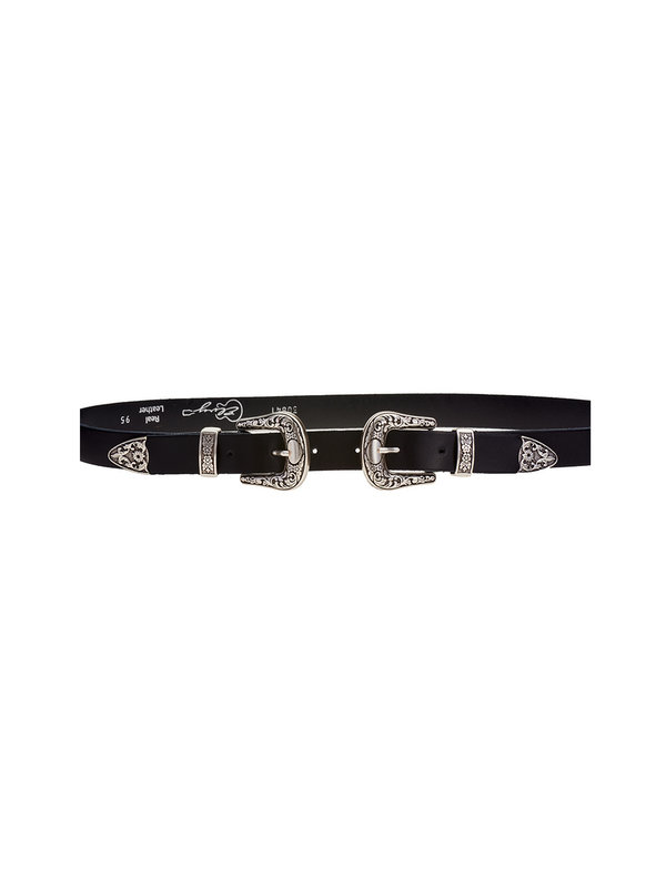 Elvy Belt Western Double Old Nickel Black