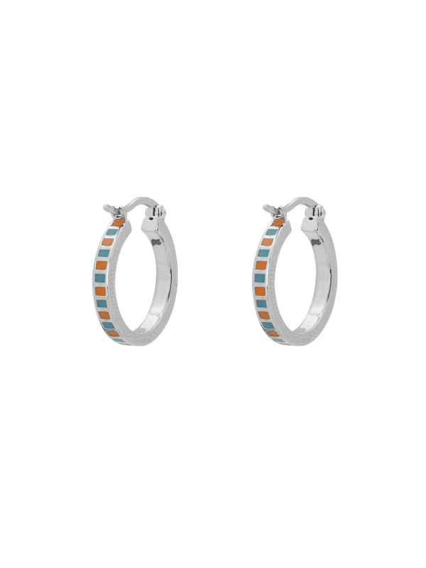 Anna + Nina Mummy Ring Earrings Orange/Turquoise Silver