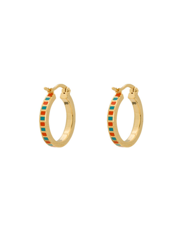Anna + Nina Mummy Ring Earrings Orange/Turquoise Silver Goldplated