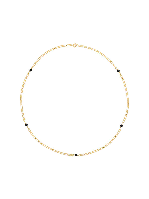 Anna + Nina Onyx Necklace Gold