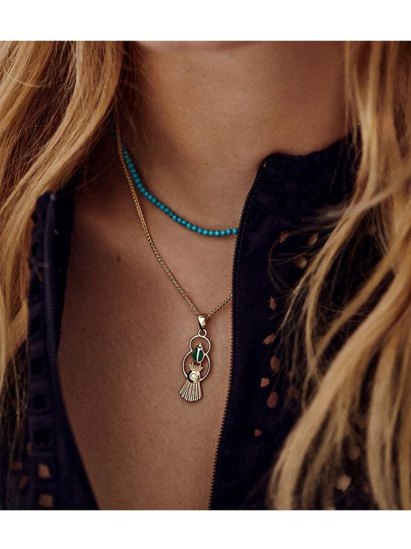 Anna + Nina Scarab Necklace Charm Gold