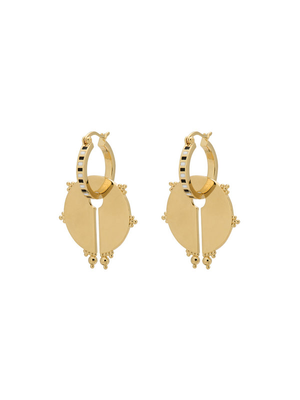 Anna + Nina Osiris Ring Earrings Brass Goldplated