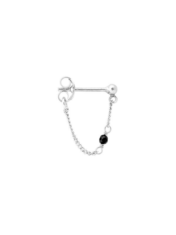 Anna + Nina Single Meteorite Chain Earring Silver