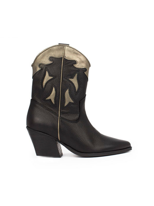 Deabused Western Boots Black/Bronze