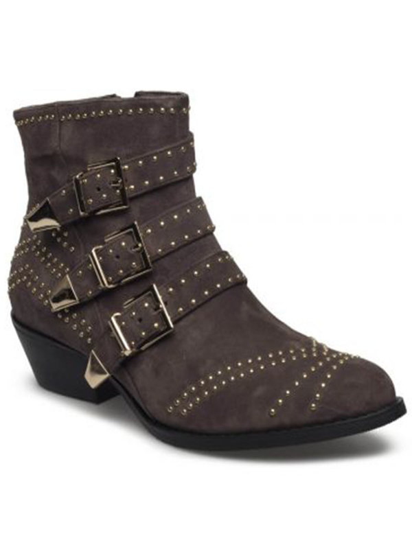 Sofie Schnoor Suede dark grey golden studs