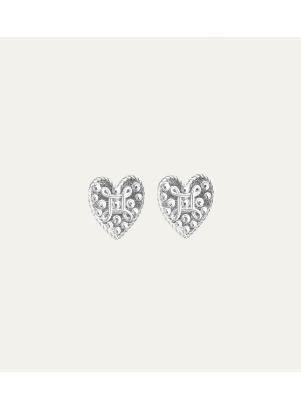 Lobi Beads Earring Heart Silver