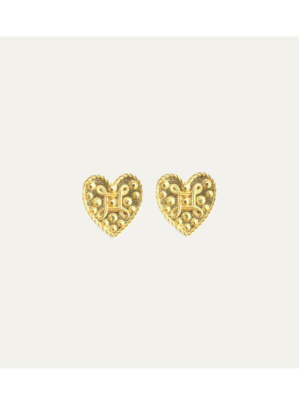 Lobi Beads Earring Heart Gold