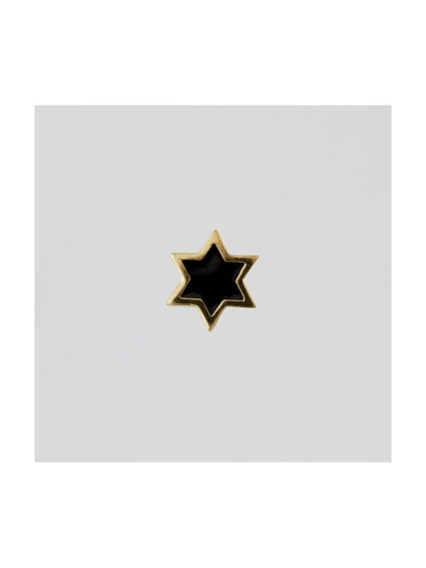 Design Letters Enamel Star Black Charm Gold