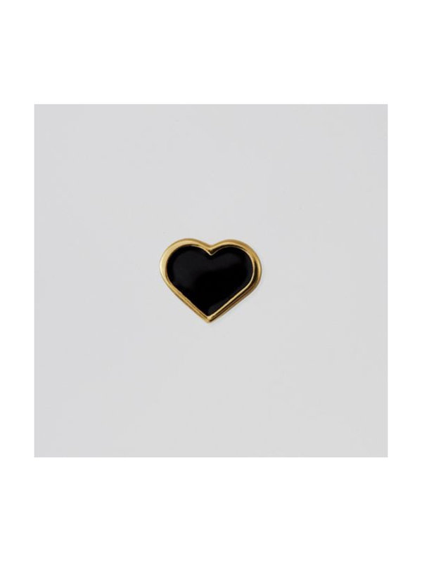 Design Letters Enamel Heart Black Charm Gold