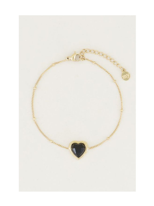 My Jewellery Armband Black Onyx Heart